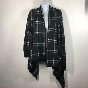 Merona black and white plaid cardigan size large
